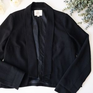 LOFT Crepe Drapey Cardigan Jacket in Black